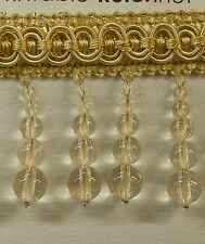 "5 Yards Beaded FRINGE Trim Off White / Gold 2 1/2"" Drop DRAPERY UPHOLSTERY"