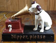 NIPPER THE DOG CAST IRON MUSICAL COIN BANK PLAYS MEMORIES BROADWAY CATS SHOW