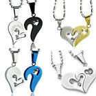 Men Women Lover I Love You Couple Necklace Heart Pendant Stainless Steel TW