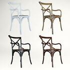 NEW Cross Back Rattan Seat Timber Carver Dining Chair, French Style Dining