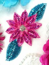 JB25 Fuchsia Turquoise Floral Rhinestone Beaded Sequin Flower Applique 6.5""