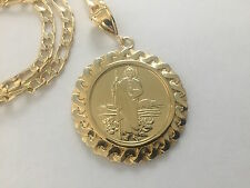 St Jude and Our Lady of Guadalupe Gold Plated Pendant and Necklace Centenario