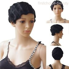 Outre Sexy Black Short Wig Finger Wave Wavy 100% Human Remy Hair Daily Wear Wigs