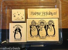 Stampin Up Rubber Stamp Set of 4 Pengiun Pals Holiday 1999 USED