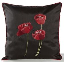 "Poppies Black & Red Piped Faux Silk 18"" Cushion Cover BNWT"