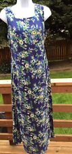 April Cornell Blue Yellow Floral Flowers Sun Dress Womens Small