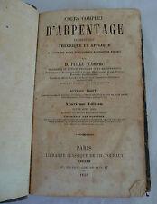 """RARE LIVRE 1859 """"COURS COMPLET D'ARPENTAGE ELEMENTAIRE"""""""