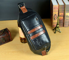 New Men Genuine Leather Messenger Shoulder Sling Chest Belt Fanny Pack Waist Bag