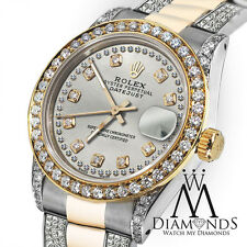Women's 31mm Rolex Oyster Perpetual Datejust Custom Silver String Diamonds Dial