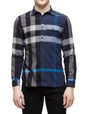 NWT Mens BURBERRY BRIT Jamie Ink Blue Exploded Check Flannel Sport Shirt sz S