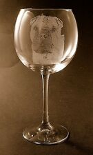 New Etched Chinese Shar Pei on Large Elegant Wine Glasses