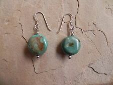 Green Turquoise nuggets & Sterling Silver dangle Earrings Navajo