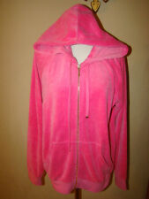 JUICY COUTURE LONG PINK VELVET VELOUR BLING RHINESTONE TRACKSUIT JACKET HOODED M