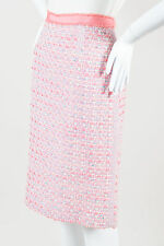 Marc Jacobs Pink White & Blue Virgin Wool Blend Boucle Tweed Pencil Skirt SZ 10