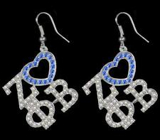 Zeta Phi Beta Sorority Three Greek Letter with Heart Crystal Earrings-New!