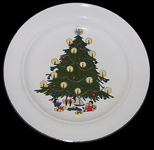 "Hall China Christmas Tree Decorated Scarce 10 1/4"" Dinner Plate -Decal with Doll"