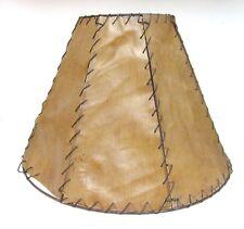 Vintage LAMP SHADE Fiberglass Primitive Southwest Look Hand Lace Distress 12x17