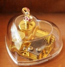 Transparent Heart Shape with Ribbon Wind Up Music Box : Castle in the sky