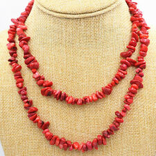 """New 5x8mm Natural Red Coral Freeform Gravel DIY Gemstone Necklace 35 """""""