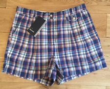 Fred Perry Womens Check Shorts Kit Blue Size 8 EU 36