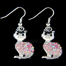 w Swarovski Crystal ~Pink KITTY CAT~ kitten Pet Animal Dangle Earrings XMAS Gift