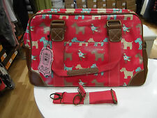 Oilcloth Travel Bag NWT by Miss Lulu in Pink Scotty Dog Print with Long Strap