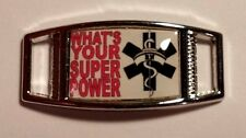 (2) RN  Whats Your Super Power Registered Nurse Shoelace Charms 4 Paracord Jobs