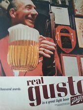 1968 Schlitz Beer Milwaukee Famous Real Gusto Pitcher Worth A Thousand Words Ad