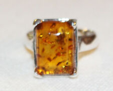 Baltic Honey Amber and Sterling Silver 4 Prong Rectangle Ring