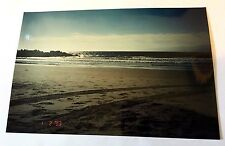 Vintage 90s PHOTO Tire Tracks In The Sand At Beach With Large Waves Roaring Up