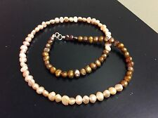 Cultured Freshwater Bronze And Mauve Pearl Necklace 20 Inch