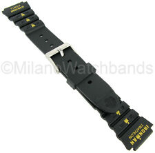 18mm Timex Ironman Triathlon Indiglo Black Yellow Rubber Sport Watch Band 577721