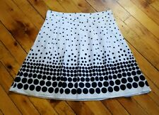 Notations XL white black polka dot skirt below knee pleated cotton never worn