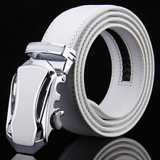 Charm Mens Genuine Leather White Belt with Fashion Automatic Buckle OL Waistband