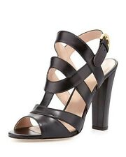 NIB Sergio Rossi Leather Black Block-Heel Sandal  Sizes IT 36  $835