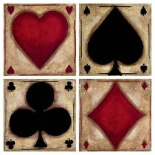 PLAYING CARD SUITS FABRIC QUILT SQUARES 6 in and 14 in - SALE!