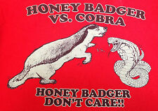 Mens Tshirt Vintage Honey Badger Don't Care vs. Cobra Alstyle Cotton 2XL Red