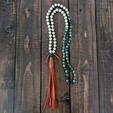 FREE PEOPLE GREEN Stone MALA Natural Bead Meditation TASSEL Necklace LONG New