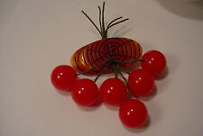 1940s Vintage BAKELITE Dangling RED CHERRIES Brooch Pin FRUIT