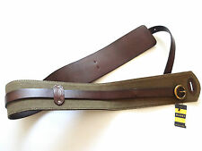 New Ralph Lauren Rugby Army Olive Green Canvas & Brown Leather Wide Belt sz M