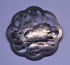 VINTAGE ARTS & CRAFTS STAVRE GREGOR PANIS STERLING SILVER SWAN PIN