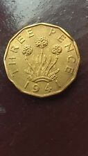 GREAT BRITAIN ANTIQUE 1941 KING GEORGE VI BRASS THREEPENCE COIN VERY HIGH GRADE