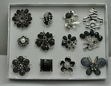 WHOLESALE LOT 12 PCS BLACK COLLECTION CHIC COCKTAIL JEWELRY RINGS #4232