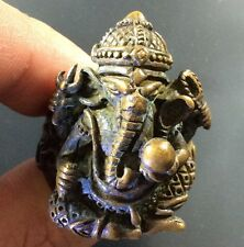 Ganesh Ring Thai Amulet Hindu God Lord Elephant Brass Success Talisman Holy