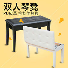 """29.5"""" Padded Storage Piano Bench Double Seating. Faux Leather. White colour"""