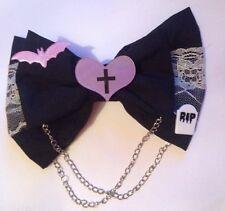 Grand gothic lolita cheveux noeud noir pendantes chaînes goth emo dentelle cœur bat rip