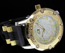 Exclusive Gold Finish Hip Hop CZ Bullet Band Ice Master Fashion Mens Bling Watch