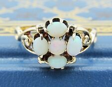 Antique Victorian Natural Opal Cluster Ring 14k Yellow Gold Estate Jewelry