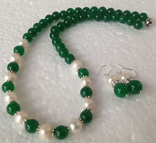 7-8MM White Akoya Cultured Pearl & 8mm Green Jade Necklace 18'' + Earring Set