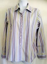 TALBOTS petite wrinkle resistant long sleeved striped size 12 blue/green/white